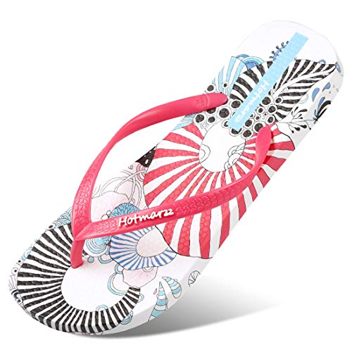 Hotmarzz Women's Flip Flops Floral Pattern Sandals Colorful Summer Slippers 2019 Season, 7 B(M) US / 38 EU / 39 CN, Charming Coral Red