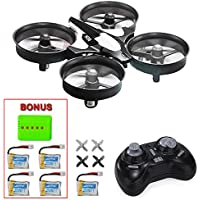 MysteryStone H36 Mini RC Quadcopter Drone with 5 Battery and 5 in 1 Charger, Nano Drone RTF 2.4G 4CH 6 Axis with Headless Mode One Key Return, Mode 2 Remote Control UFO Drone for Kids (black)