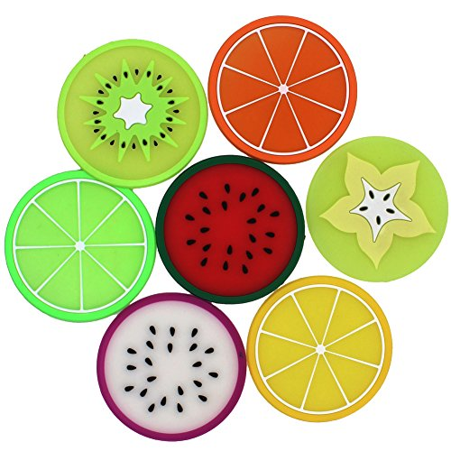 Zicome Silicone Fruit Slice Coasters, Set of 7