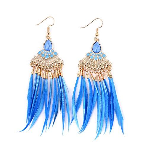 Slowsilent Fashion Women Jewelry Bohemia Feather Tassel Earrings Retro Dangle Drop Earrings  Blue