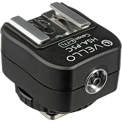 819135b780 Image Unavailable. Image not available for. Color  Vello Hot Shoe Adapter  with PC Socket + Top Shoe - for Canon (E-