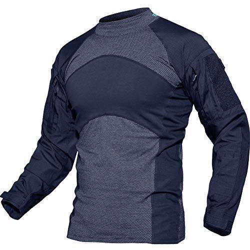 (TACVASEN Tactical Combat Quick Dry Shirt Military Duty Uniform Hunting T-Shirt Navy,US 2XL/Tag 5XL)