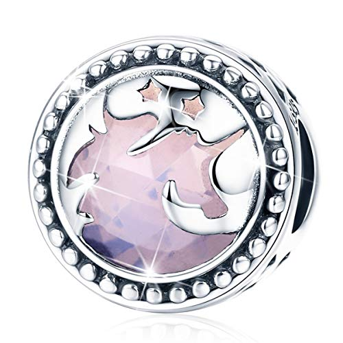 (Forever Queen Fantasy Unicorn Charm, 925 Sterling Silver Big Stone Charms Bead for Necklace Charm Bracelet Snake Chain, Best Christmas Birthday Gift for Mother Wife Girlfriend BJ09003)