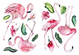 WAS-13054 Children's Room Deco Watercolour Wall Tattoo Flamingo Tropical Plants