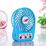 Auphi USB Rechargeable Portable 4 Speed Mode Fan Handhold Outdoor Cooling Fan Desktop Fan (blue)