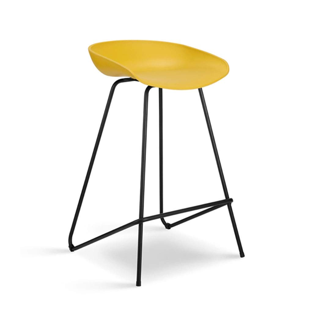 Yellow - black legs 76 cm Metal Bar Chair Green PP Seat Simple High Stool Home Dining Chair Multi-Functional Creative Cafe Chair (color   Yellow - Black Legs, Size   76 cm)