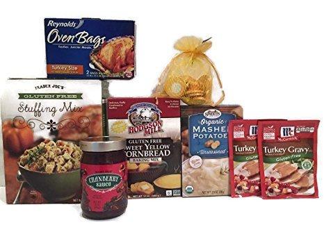 Event Bundle (Gluten Free Turkey Dinner Bundle: Trader Joe's GF Stuffing Mix, Organic Mashed Potatoes, Cranberry Sauce, Cornbread, 2-McCormicks GF Turkey Gravy, 2 Roasting Bags, Bag of Choc Coins -8 Items)