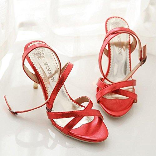 Coolcept Mujer Tobillo Sandalias Fiesta Cruzado Al Correas Rojo Zapatos Moda Boda 7awf7