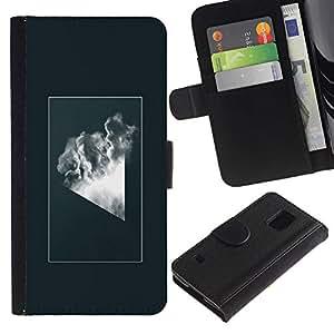 KLONGSHOP // Tirón de la caja Cartera de cuero con ranuras para tarjetas - Geometría abstracta Nube - Samsung Galaxy S5 V SM-G900 //