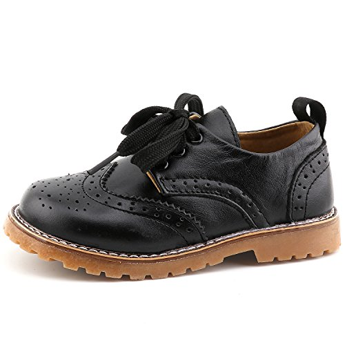 (CCTWINS KIDS Toddler Little Kid Girl Boy Dress Oxford Leather Shoe(G9771-black-22))