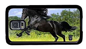 Hipster Samsung Galaxy S5 Case durable cover Wild Stallion PC Black for Samsung S5
