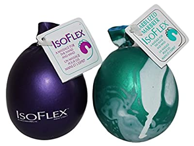 Isoflex Hand Therapy And Exercise Ball. 2 Pack - One Solid Color And One Marblized. Ideal For Stress Relief - Hand and Wrist Exercise for ADD/ADHD - For All Ages (Assorted Colors)