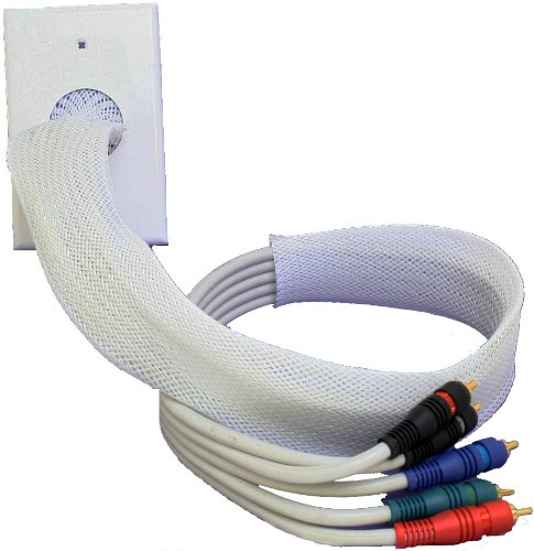 Price comparison product image POWERBRIDGE WHITE WALL PLATE, WHITE CABLE SOCK, 2FT