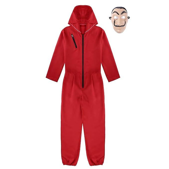 CHICTRY Unisex Disfraz Halloween Fiesta Adulto Mono con Capucha Body Romper Jumpsuit Disfraz de Ladrón Traje de Cosplay Carnaval Bodysuit Rojo+Máscara: ...