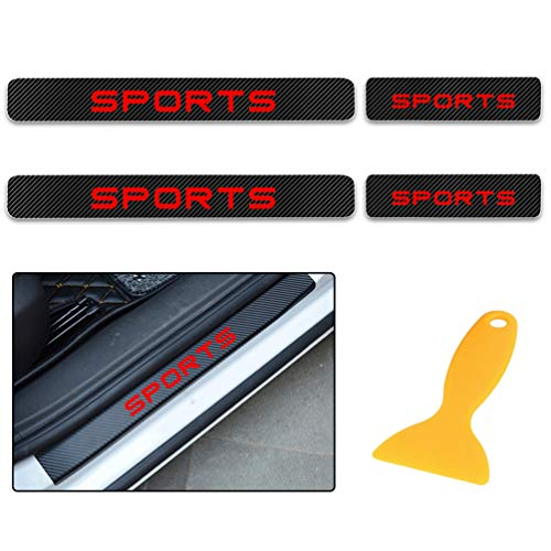 for Benz A B C E G M S CL CLA CLK CLS CL CLA CLK CLS GL GLK SL SLK AMG Carbon Fiber Door Sill Protector Scratch Door Sill Guard 4D Welcome Pedals Guards Threshold Sticker Sticker Red 4Pcs