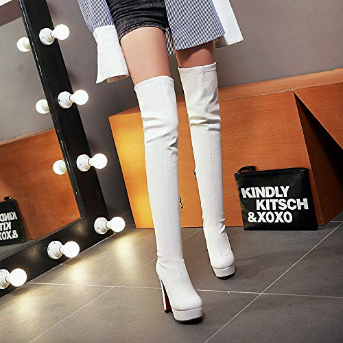 Boots Side AnMengXinLing Zipper The Booties Snow Round High Knee Over Women Heel High Winter White Platform Toe Tall Boots Thigh Tqx6rTEwZ