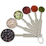 [2-Pack] Royal Measuring Spoons Set - Stainless Steel Baking Spoon for Dry and Liquid Ingredients - Detachable Ring Holder - 6 Measurements