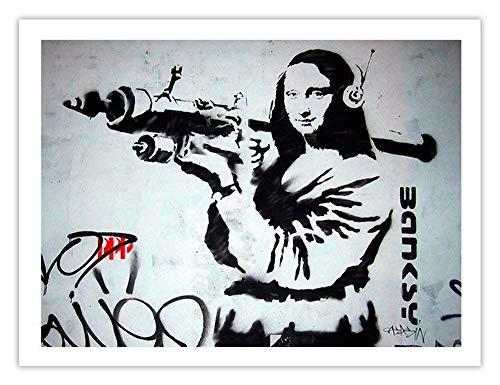 Banksy Mona Lisa with Rocket Launcher Poster - Handmade Giclée Gallery Graffiti Art Print Unframed (18x24) ()