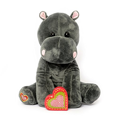 (My Baby's Heartbeat Bear - Hippo Stuffed Animal w/ 20 sec Voice Recorder - Lil 8