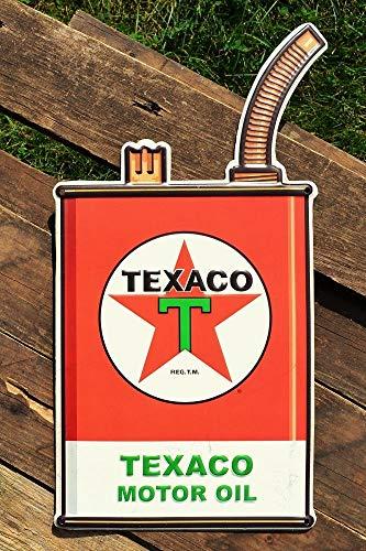 ShopForAllYou Vintage Decor Signs Texaco Motor Oil Can Embossed Tin Metal Sign - The Texas Company - Gasoline