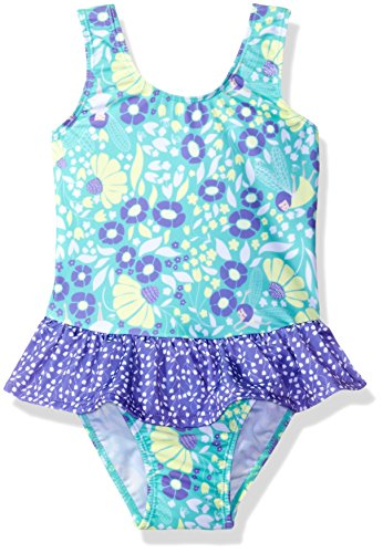 Flap Happy Girls UPF 50+ Serena Contrast Swimsuit Ruffle Skirt