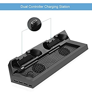 PS4 Vertical Stand Controller Charger with Cooling fan, Jelly Comb PlayStation 4 Charging Station with Dual Charger, Best PS4 Cooler Accessories with USB HUB - Black