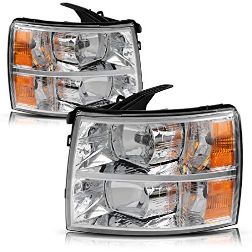 Headlight Assembly for 2007 2008 2009 2010 2011 2012 2013 2014 Chevy Silverado Replacement Headlamp Driving Light Chromed Housing Amber Reflector Clear Lens