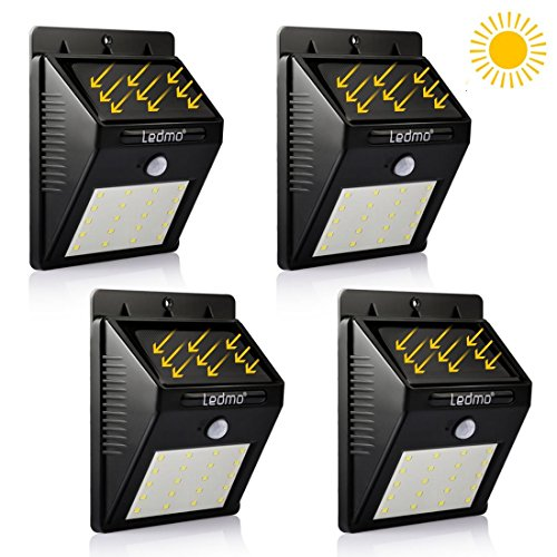 LEDMO-LED-Solar-Light-White-Light-Security-Wireless-Waterproof-Motion-Sensor-Outdoor-20-LEDs-Solar-Light-for-GardenDriveway-yard-4-pack