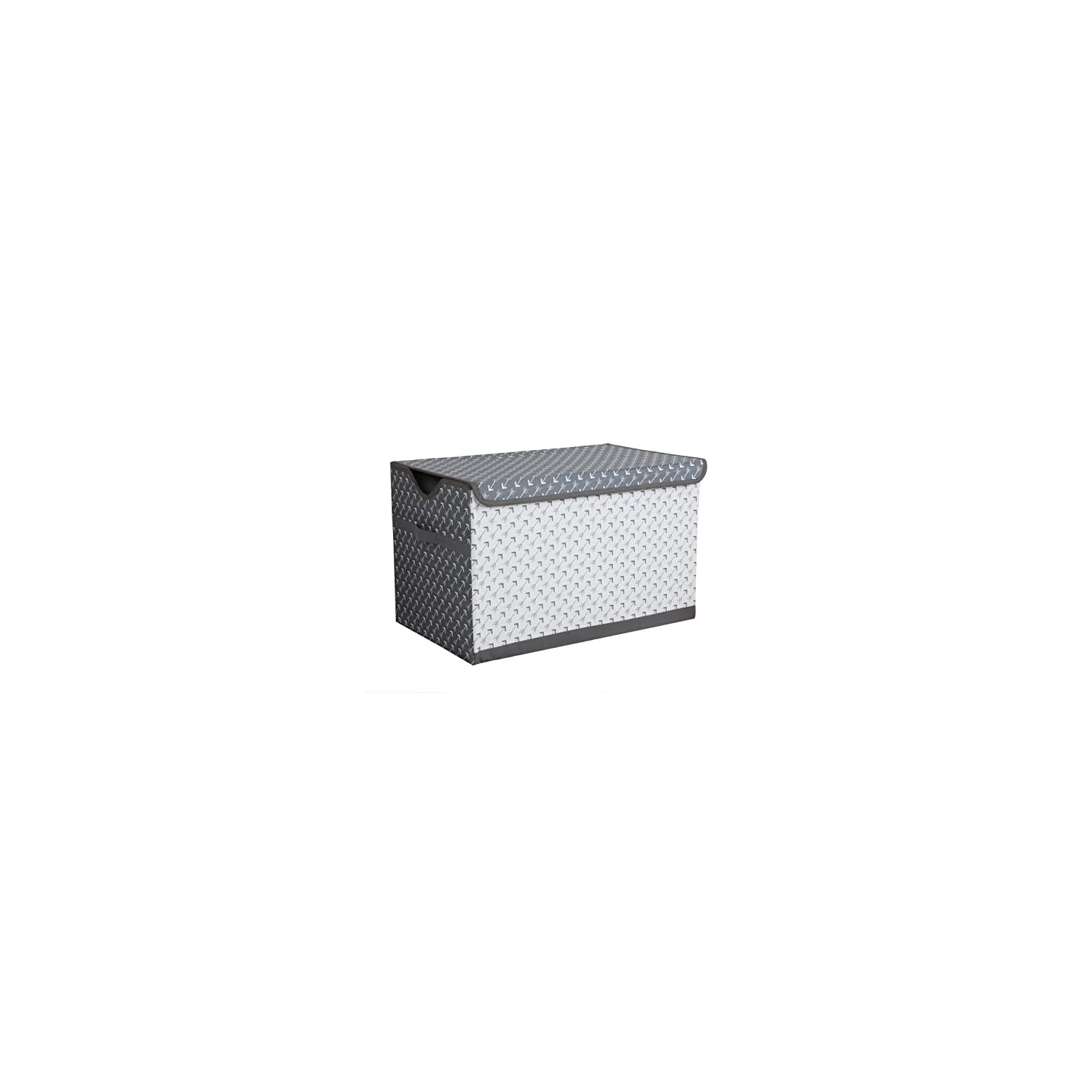 Bacati Arrows Storage Toy Chest, White/Grey
