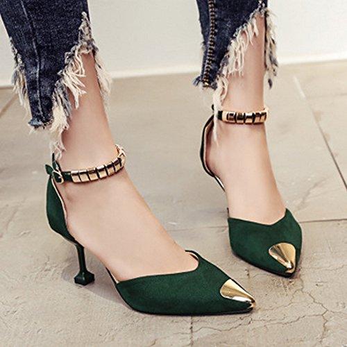 Y&Mai Metal Toe Ankle-Strap Elegant Stiletto Heel Sandals Women Green wjO8sp