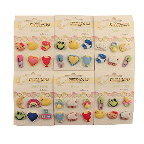 Baby Hugs (Buttons Galore BHGROUP Baby Hugs 3D Buttons - Set of 6 Cards)