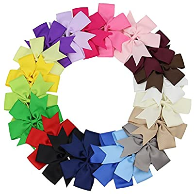 "QtGirl Baby Hair Bows 3""-5"" 20 Pcs Pinwheel Girls Hair Bow with Clips"