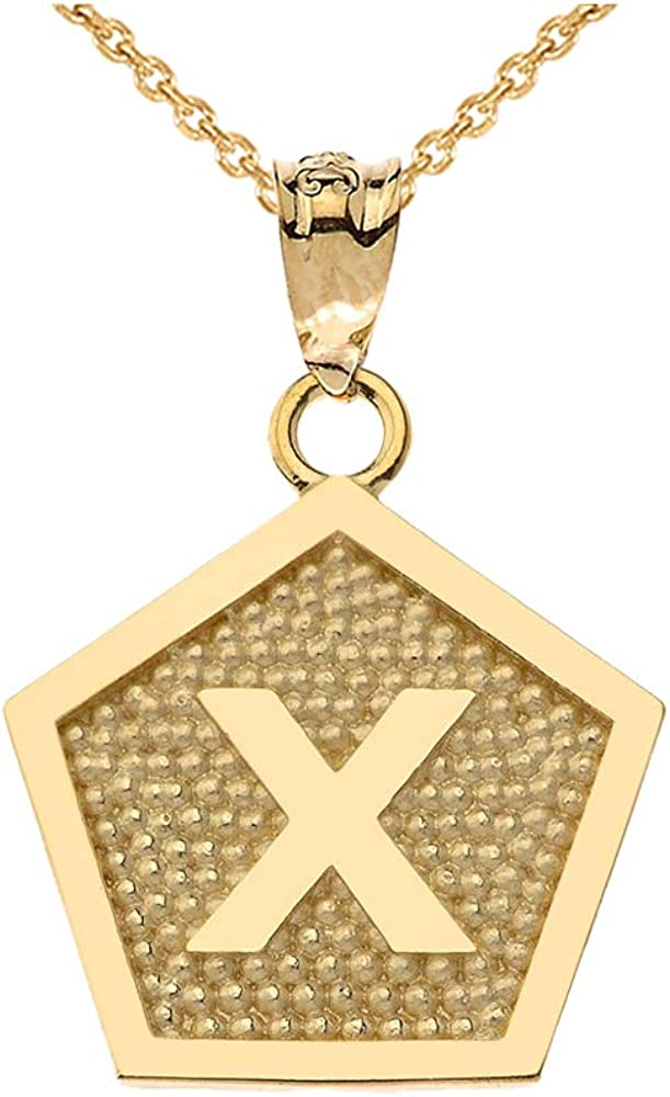 LA BLINGZ 10K Yellow Gold Letter X Initial Pentagon Pendant Necklace