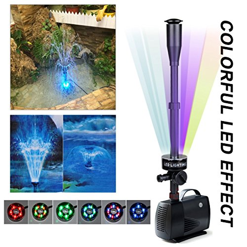 Elstey LED Fountain Submersible Pump, 85W 1452GPH (5500L/H) Water Pump with 5 Color RGB Bulbs Blossom & Mushroom Nozzle Flow Adjustable for Aquarium Pond Fountain Fish Tank Water Hydroponic ()
