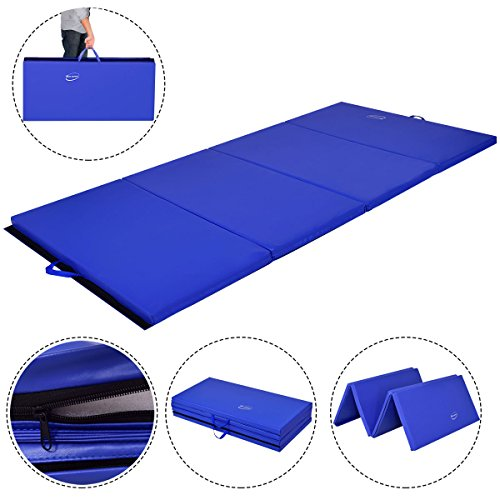 Giantex 4'x8'x2 Gymnastics Folding Mat Tumbling Mats Big 4 Panel for Home Exercise Gym Fitness Workout Yoga Stretching Training Fold Tumble Mat w/Handle, Blue