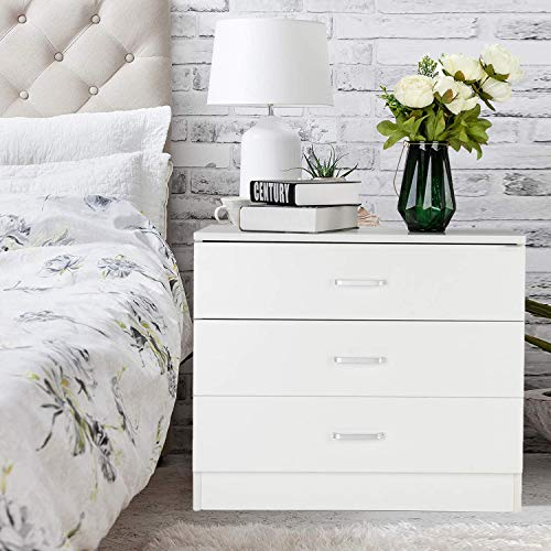 MTFY 3 Drawers Chest, White Wooden Dresser Drawer Storage for Closet, Easy to Assemble, Storage Unit for The Bedroom, Living Room, Kid's Room (White Drawer Chest Three)