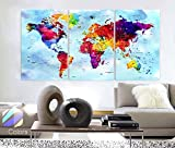 Original by BoxColors Large 30''x 60'' 3 Panels 30x20 Ea Art Canvas Print Watercolor Map World Push Pin Travel cities Wall colorfull decor Home interior (framed 1.5'' depth)
