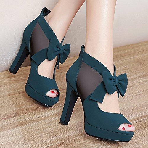 Frühlings-Dame Shoes 10cm Schwarz Grasgrün Sandalen Grobe Ferse Sommer ( Farbe : Grass green , größe : EU36/UK3.5/CN35 ) Grass green