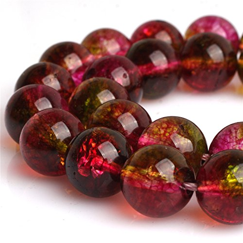 Multi Colored Tourmaline Earrings (Round Tourmaline Faux Crackle Gemstone Loose Beads for Jewelry Making Handmade DIY One Strand 15