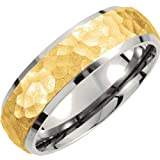 Titanium and Gold IP 7mm Hammered Dome Comfort Fit Band Size 13