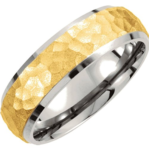 Titanium and Gold IP 7mm Hammered Dome Comfort Fit Band Size 9 by The Men's Jewelry Store