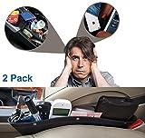Car Pockets Car Seat Catch all Leather Car Pocket Organizer Seat Console Gap Filler Side Black (Black)