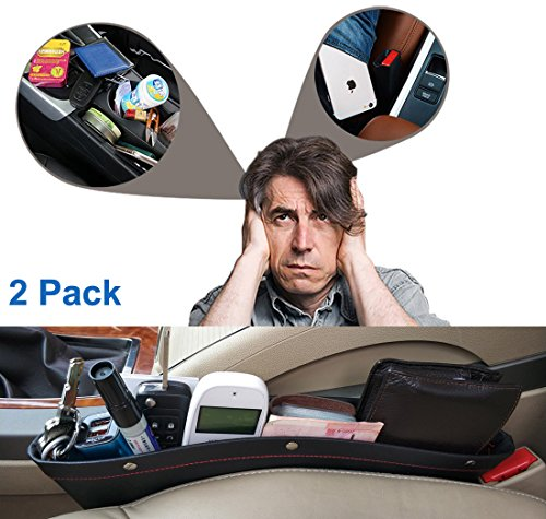 Car Pockets Car Seat Catch all Leather Car Pocket Organizer Seat Console Gap Filler Side Black (Black) (Side Filler)