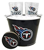 NFL Tennessee Titans Satin Etch Bucket and 4 Glass Gift Set