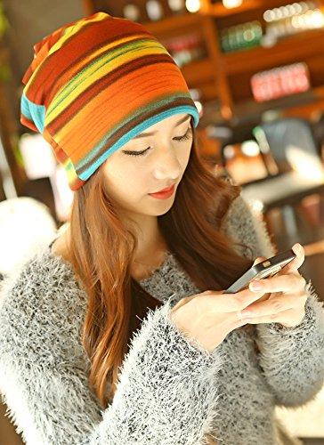 Qunson Womens Rainbow Slouchy Beanie Hat Cap (orange)