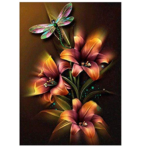 (CANDYL DIY Oil Painting Paint by Number Kit for Kids Adults Students Beginner DIY Canvas Painting by Numbers Acrylic Oil Painting Arts Craft for Home Wall Decoration Lily Flower Dragonfly 16x20 Inch )