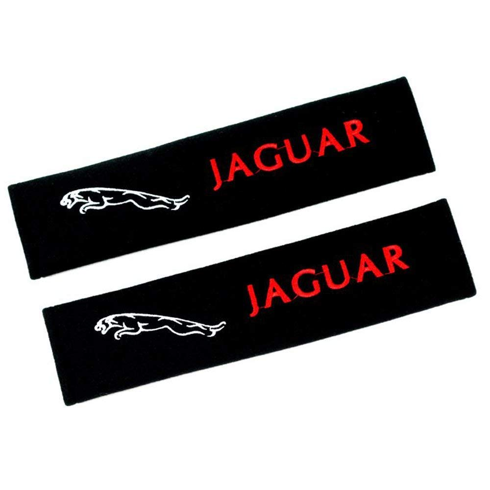 Altergo Seat Belt Covers for Jaguar Cars Embroidered Badge Adults and Children Shoulder Pad Opening Acrylic 2 Pack
