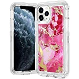 Wollony for iPhone 11 Pro Case Marble Gold Glitter Girly Sparkle 3 in 1 Heavy Duty Hybrid Impact Resistant Shockproof Hard Bumper Non-Slip Soft Rubber Protective Cover for iPhone 11 Pro 5.8inch Purple