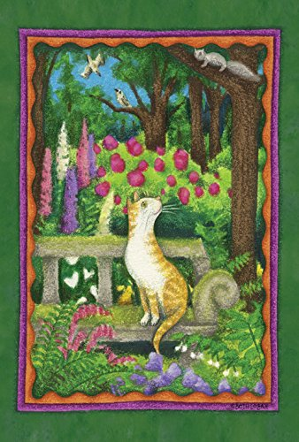 (Toland Home Garden Curious Kitty 28 x 40 Inch Decorative Spring Summer Forest Flower Cat House Flag)