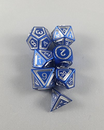 Floating Polyhedral 7-Die Set - Blue Anodized Aluminum - Gaming Dice by Sly Kly Design